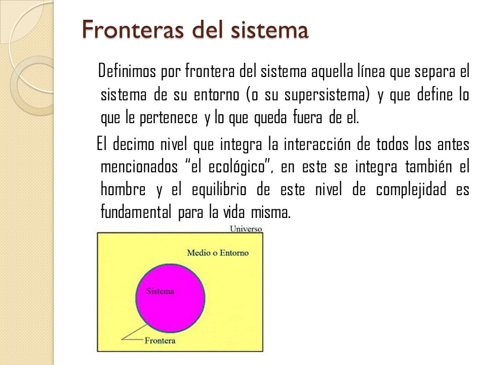 Fronteras del sistema Definimos por frontera del sistema aquella línea que separa el sistema de su entorno (o su supersistema) y que define lo que le