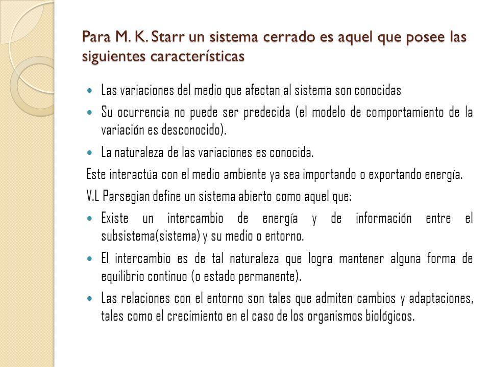 Para M. K. Starr un sistema cerrado es aquel que posee las siguientes características Las variaciones del medio que afectan al sistema son conocidas S