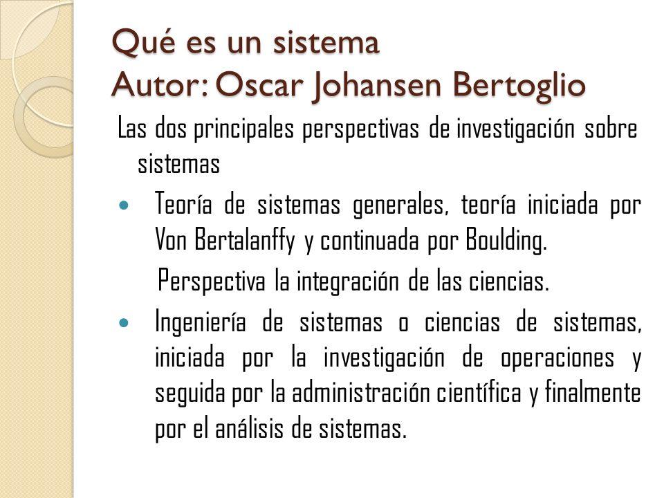Qué es un sistema Autor: Oscar Johansen Bertoglio Las dos principales perspectivas de investigación sobre sistemas Teoría de sistemas generales, teorí