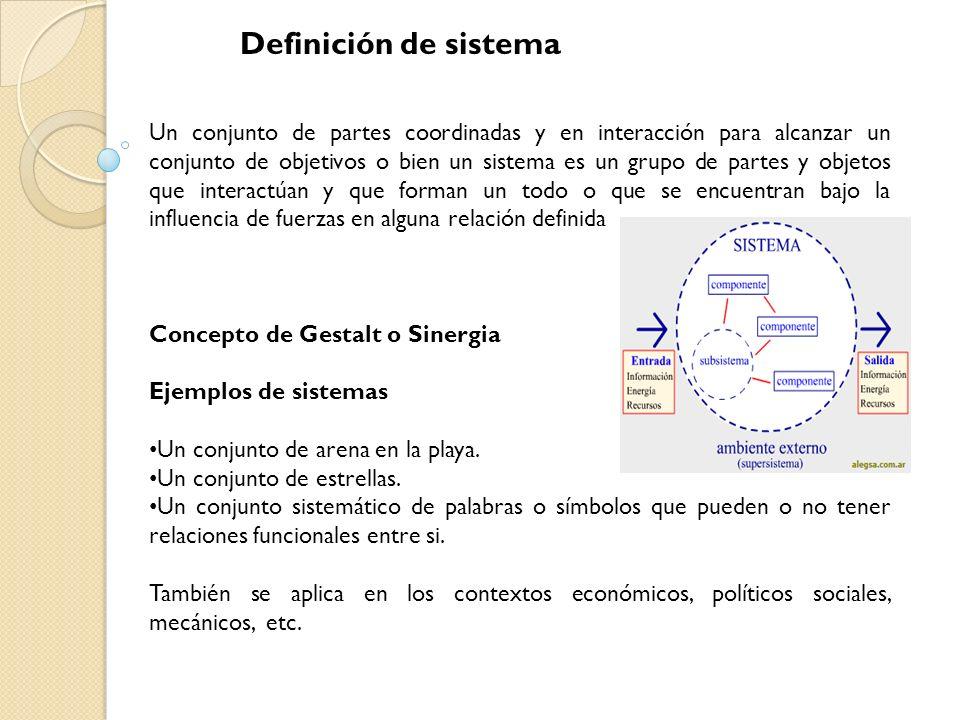 Definición de sistema Un conjunto de partes coordinadas y en interacción para alcanzar un conjunto de objetivos o bien un sistema es un grupo de parte