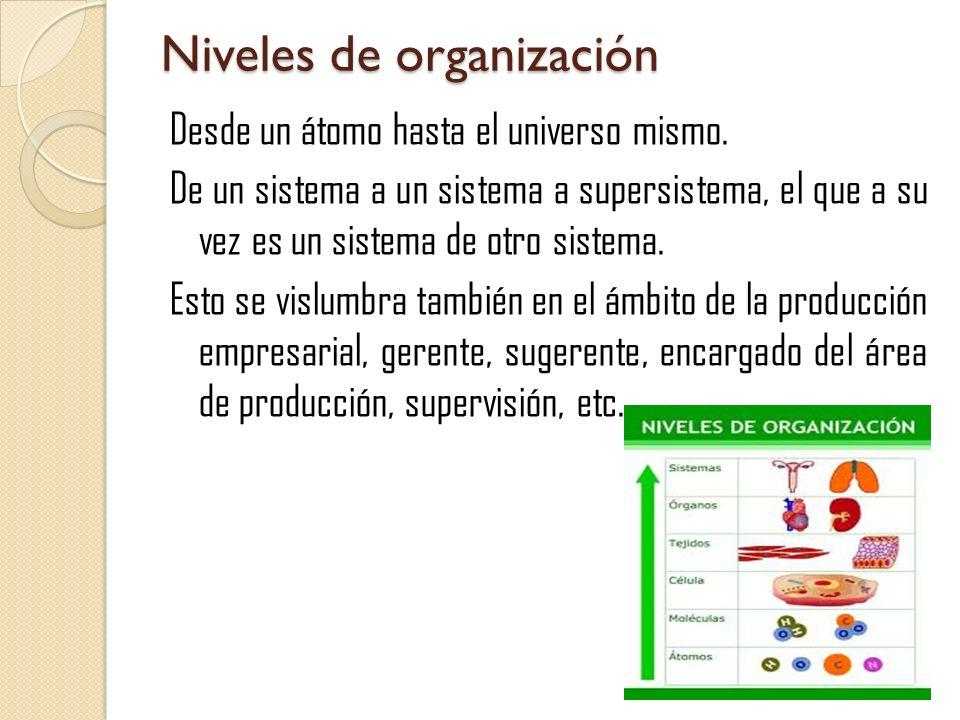 Niveles de organización Desde un átomo hasta el universo mismo. De un sistema a un sistema a supersistema, el que a su vez es un sistema de otro siste