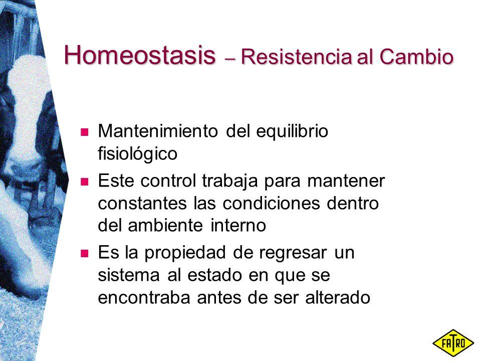 Homeostasis – Resistencia al Cambio Mantenimiento del equilibrio fisiológico Este control trabaja para mantener constantes las condiciones dentro del