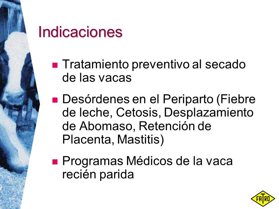 Indicaciones Tratamiento preventivo al secado de las vacas Desórdenes en el Periparto (Fiebre de leche, Cetosis, Desplazamiento de Abomaso, Retención