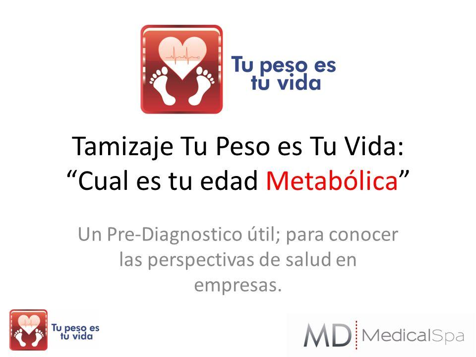 Tamizaje Tu Peso es Tu Vida: Cual es tu edad Metabólica Un Pre-Diagnostico útil; para conocer las perspectivas de salud en empresas.