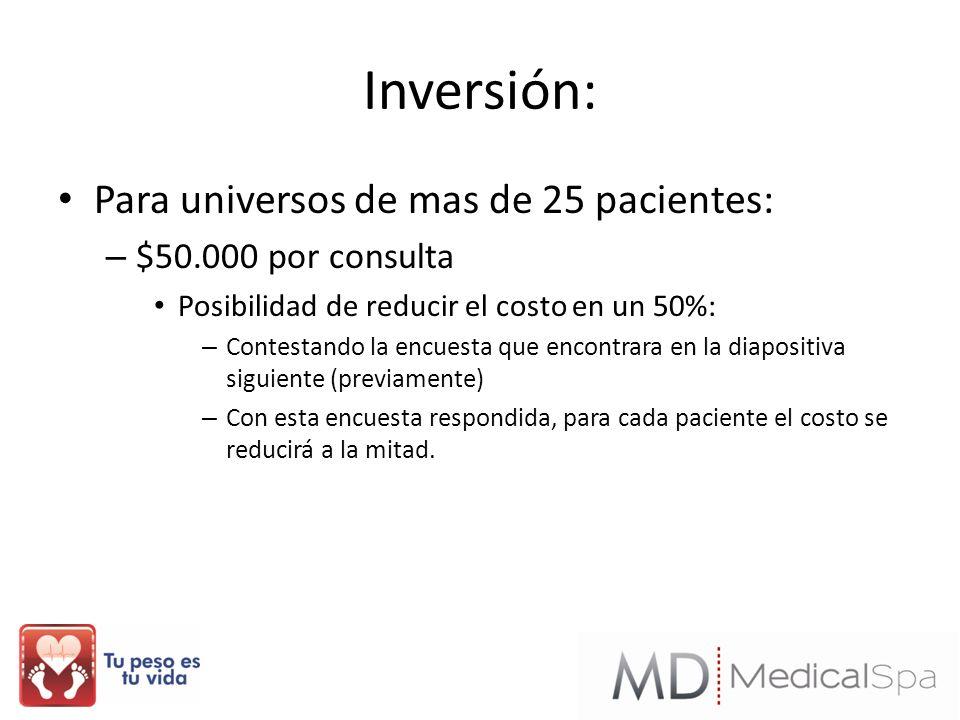 Inversión: Para universos de mas de 25 pacientes: – $50.000 por consulta Posibilidad de reducir el costo en un 50%: – Contestando la encuesta que enco