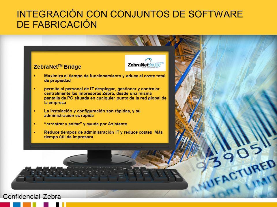 Zebra Confidential INTEGRACIÓN CON CONJUNTOS DE SOFTWARE DE FABRICACIÓN 11 ZebraNet TM Bridge Maximiza el tiempo de funcionamiento y educe el coste to