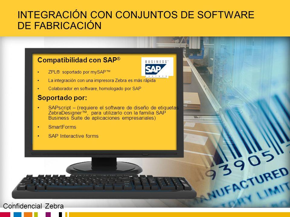 Zebra Confidential INTEGRACIÓN CON CONJUNTOS DE SOFTWARE DE FABRICACIÓN 8 Compatibilidad con SAP ® ZPL® soportado por mySAP La integración con una imp