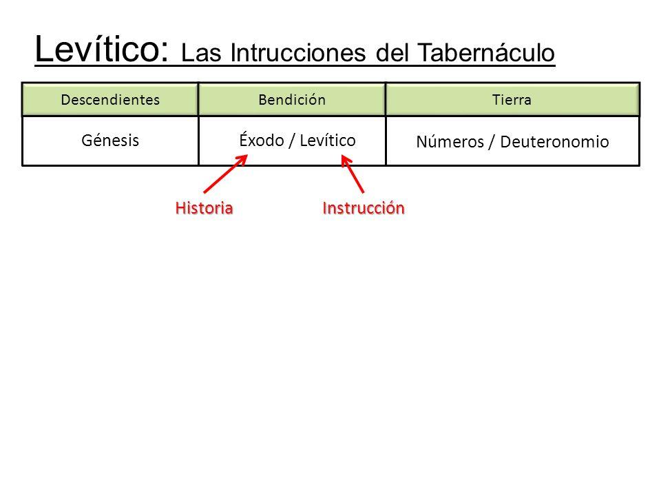 Levítico: Las Intrucciones del Tabernáculo DescendientesBendición Génesis Tierra Éxodo / Levítico Números / Deuteronomio HistoriaInstrucción
