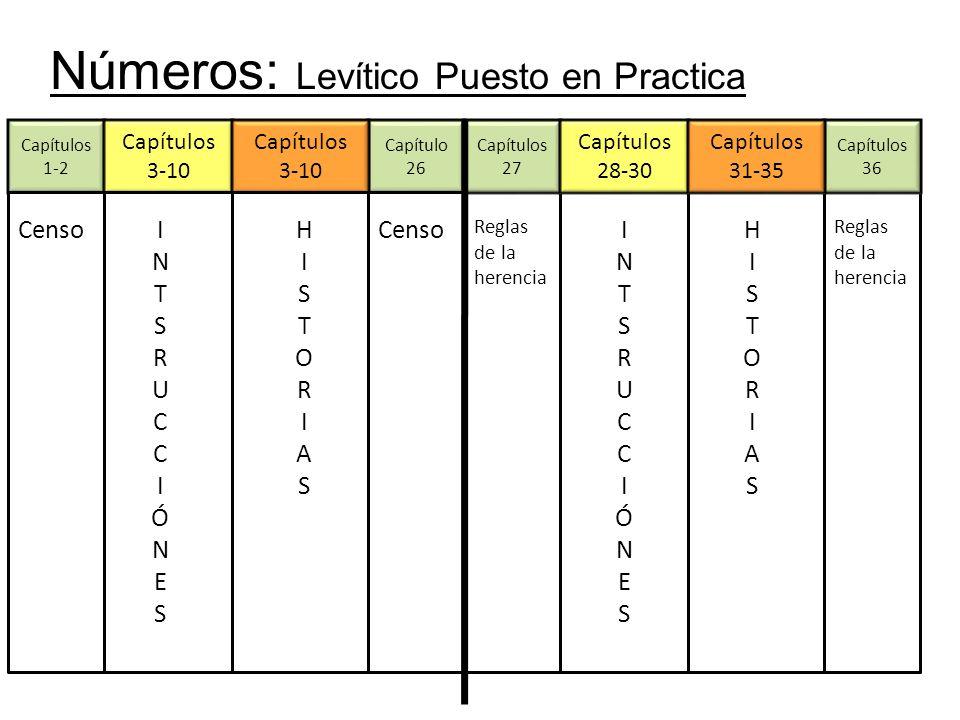 Números: Levítico Puesto en Practica Capítulos 1-2 Capítulo 26 Capítulos 3-10 Capítulos 3-10 Censo INTSRUCCIÓNESINTSRUCCIÓNES HISTORIASHISTORIAS Capítulos 27 Reglas de la herencia Capítulos 36 Reglas de la herencia Capítulos 28-30 INTSRUCCIÓNESINTSRUCCIÓNES Capítulos 31-35 HISTORIASHISTORIAS