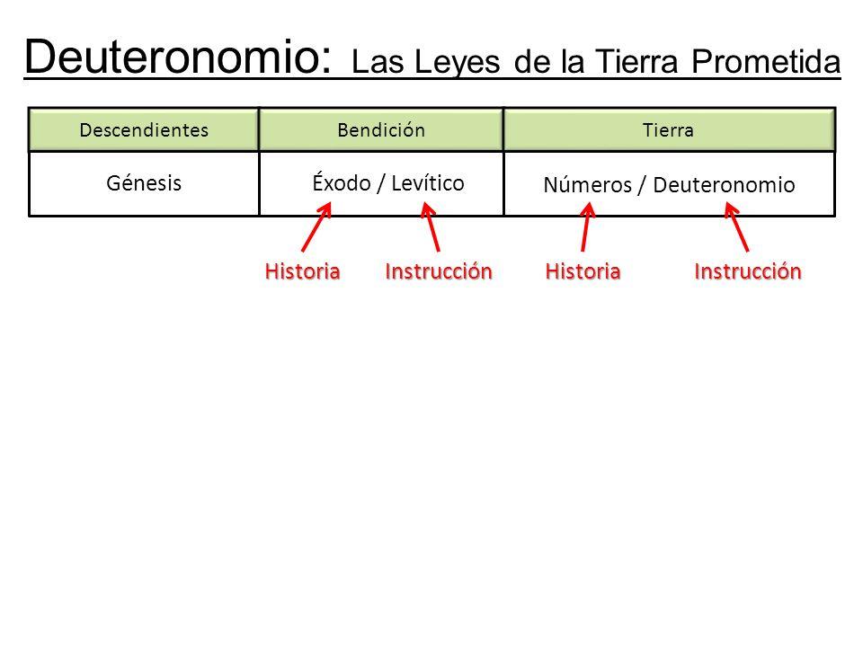 Deuteronomio: Las Leyes de la Tierra Prometida DescendientesBendición Génesis Tierra Éxodo / Levítico Números / Deuteronomio HistoriaInstrucciónHistoriaInstrucción