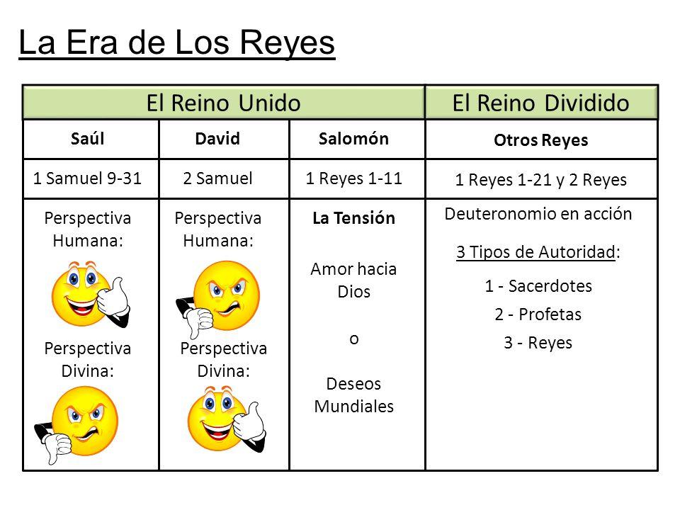 La Era de Los Reyes El Reino Unido Saúl El Reino Dividido DavidSalomón Otros Reyes 1 Samuel 9-312 Samuel1 Reyes 1-11 1 Reyes 1-21 y 2 Reyes Perspectiv