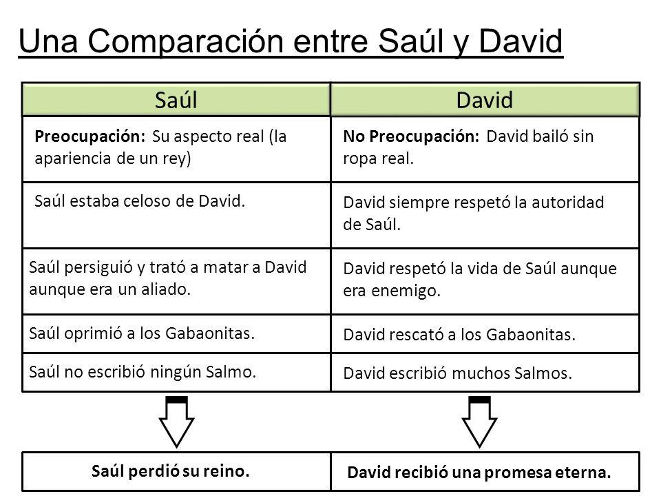 Una Comparación entre Saúl y David Saúl Preocupación: Su aspecto real (la apariencia de un rey) David No Preocupación: David bailó sin ropa real. Saúl