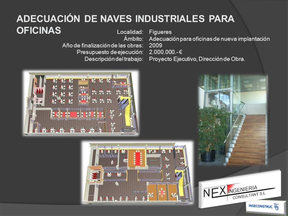 Localidad: Ámbito: Año de finalización de las obras: Presupuesto de ejecución: Descripción del trabajo: Figueres Adecuación para oficinas de nueva imp