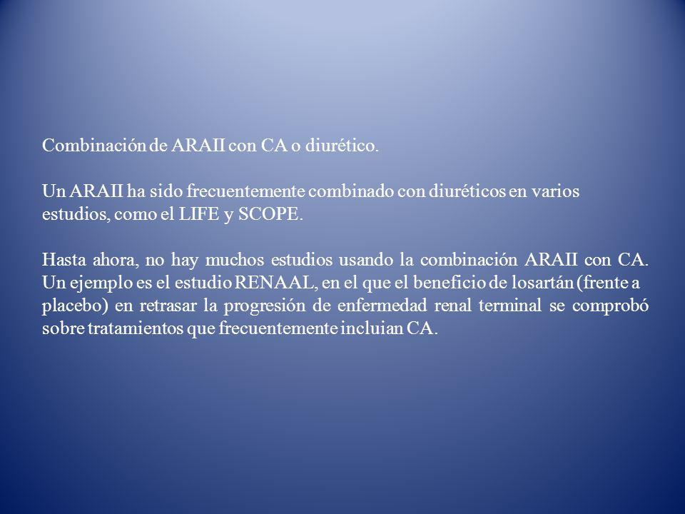 Combinación de ARAII con CA o diurético. Un ARAII ha sido frecuentemente combinado con diuréticos en varios estudios, como el LIFE y SCOPE. Hasta ahor