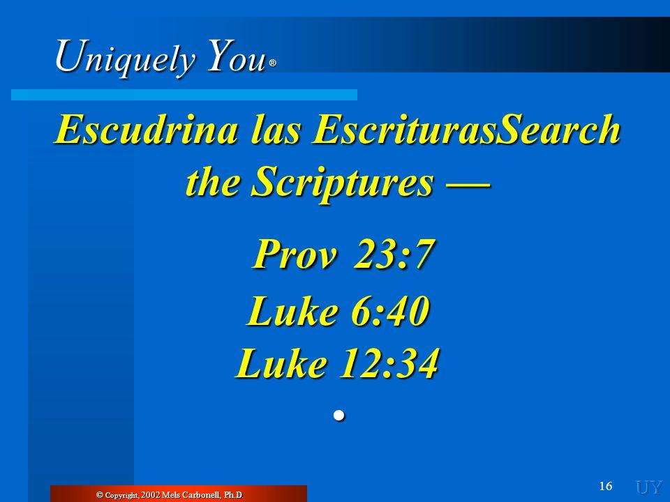 U niquely Y ou ® 16 Escudrina las EscriturasSearch the Scriptures Escudrina las EscriturasSearch the Scriptures Prov 23:7 Prov 23:7 Luke 6:40 Luke 12: