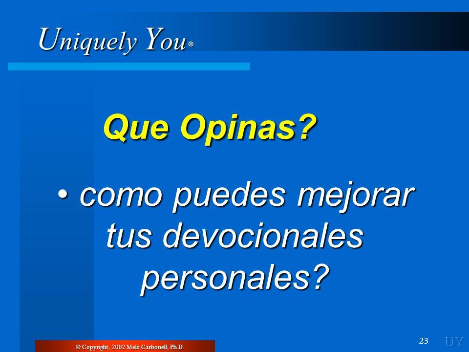 U niquely Y ou ® 23 © Copyright, 2002 Mels Carbonell, Ph.D. Que Opinas? Que Opinas? como puedes mejorar tus devocionales personales? como puedes mejor