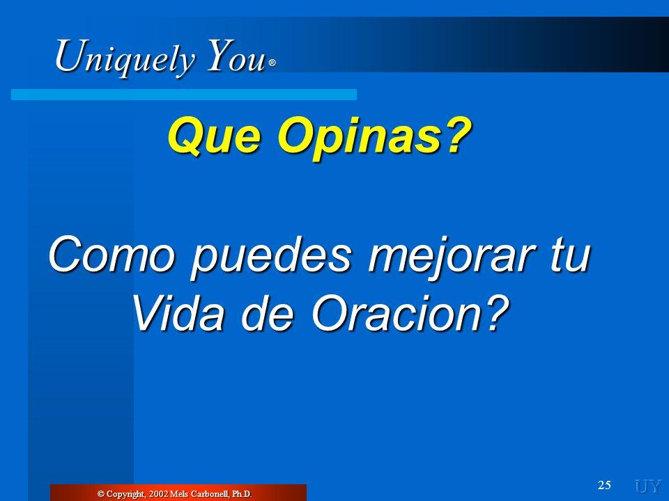 U niquely Y ou ® 25 Que Opinas? Como puedes mejorar tu Vida de Oracion? © Copyright, 2002 Mels Carbonell, Ph.D.