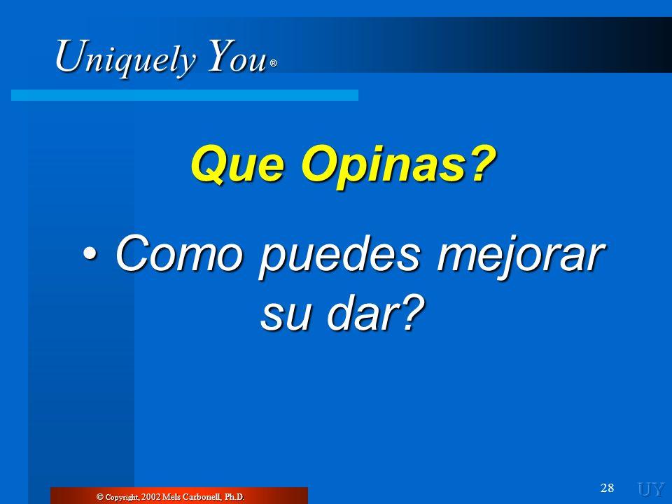 U niquely Y ou ® 28 © Copyright, 2002 Mels Carbonell, Ph.D. Que Opinas? Como puedes mejorar su dar? Como puedes mejorar su dar?