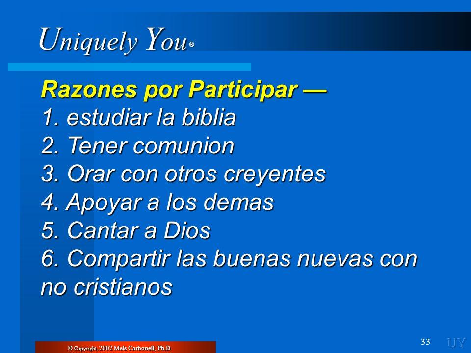 U niquely Y ou ® 33 Razones por Participar Razones por Participar 1. estudiar la biblia 2. Tener comunion 3. Orar con otros creyentes 4. Apoyar a los