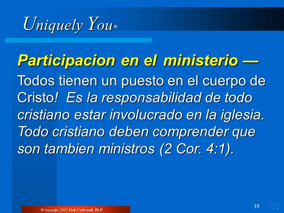 U niquely Y ou ® 35 © Copyright, 2002 Mels Carbonell, Ph.D. Participacion en el ministerio Participacion en el ministerio Todos tienen un puesto en el