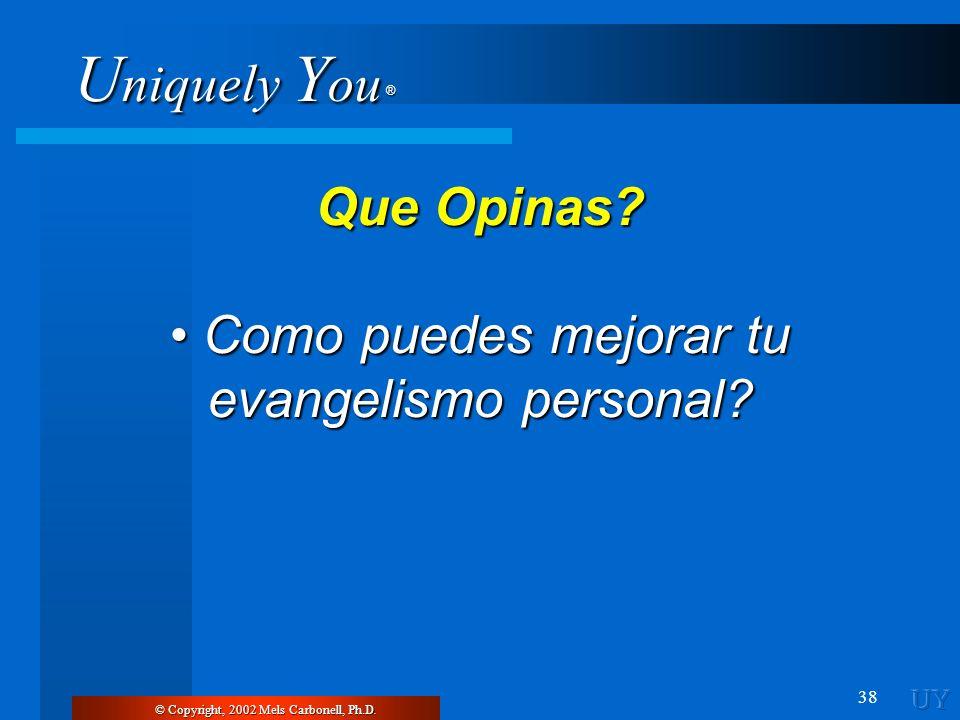 U niquely Y ou ® 38 © Copyright, 2002 Mels Carbonell, Ph.D. Que Opinas? Como puedes mejorar tu evangelismo personal? Como puedes mejorar tu evangelism