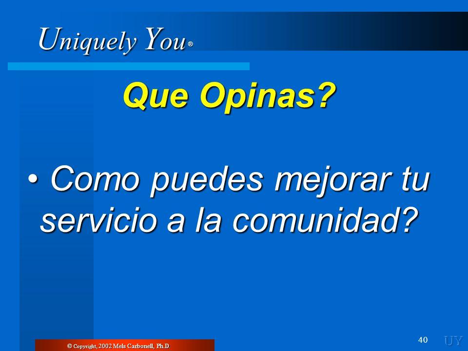 U niquely Y ou ® 40 © Copyright, 2002 Mels Carbonell, Ph.D. Que Opinas? Como puedes mejorar tu servicio a la comunidad? Como puedes mejorar tu servici
