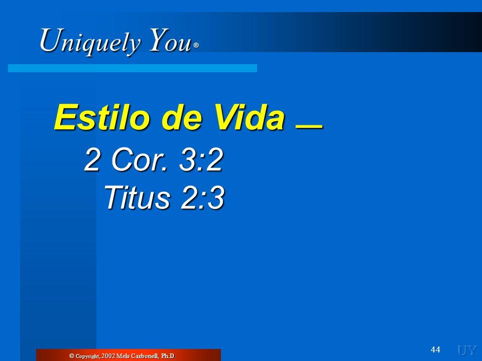 U niquely Y ou ® 44 © Copyright, 2002 Mels Carbonell, Ph.D. Estilo de Vida Estilo de Vida 2 Cor. 3:2 2 Cor. 3:2 Titus 2:3