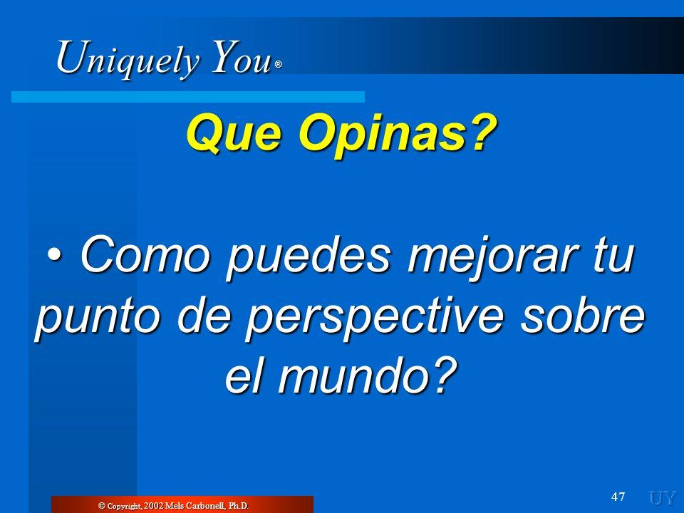 U niquely Y ou ® 47 Que Opinas? Como puedes mejorar tu punto de perspective sobre el mundo? Como puedes mejorar tu punto de perspective sobre el mundo