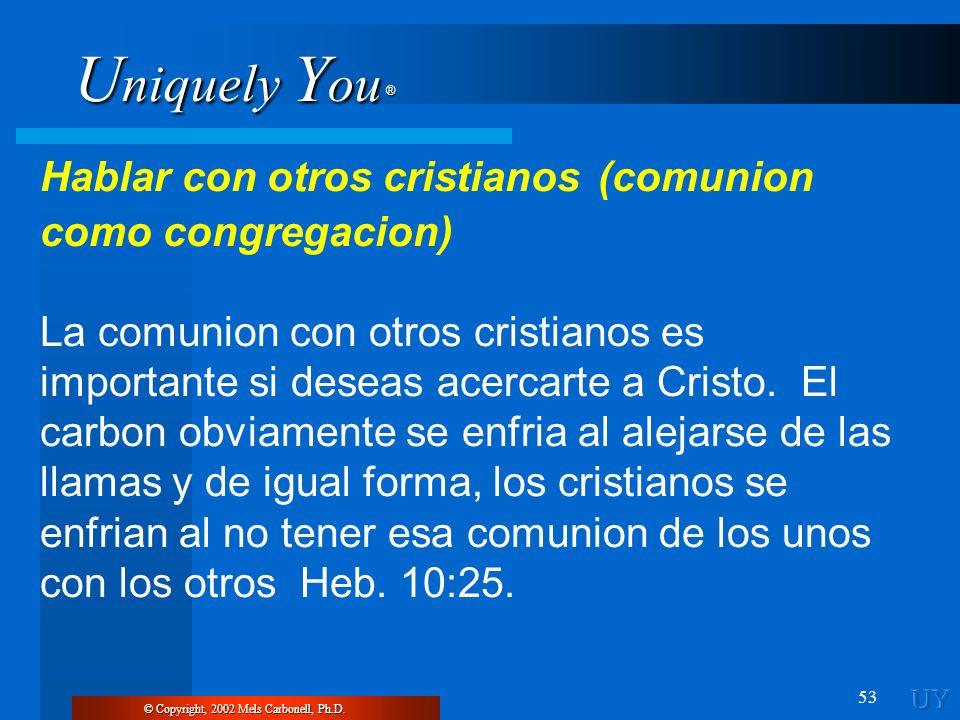 U niquely Y ou ® 53 Hablar con otros cristianos (comunion como congregacion) La comunion con otros cristianos es importante si deseas acercarte a Cris
