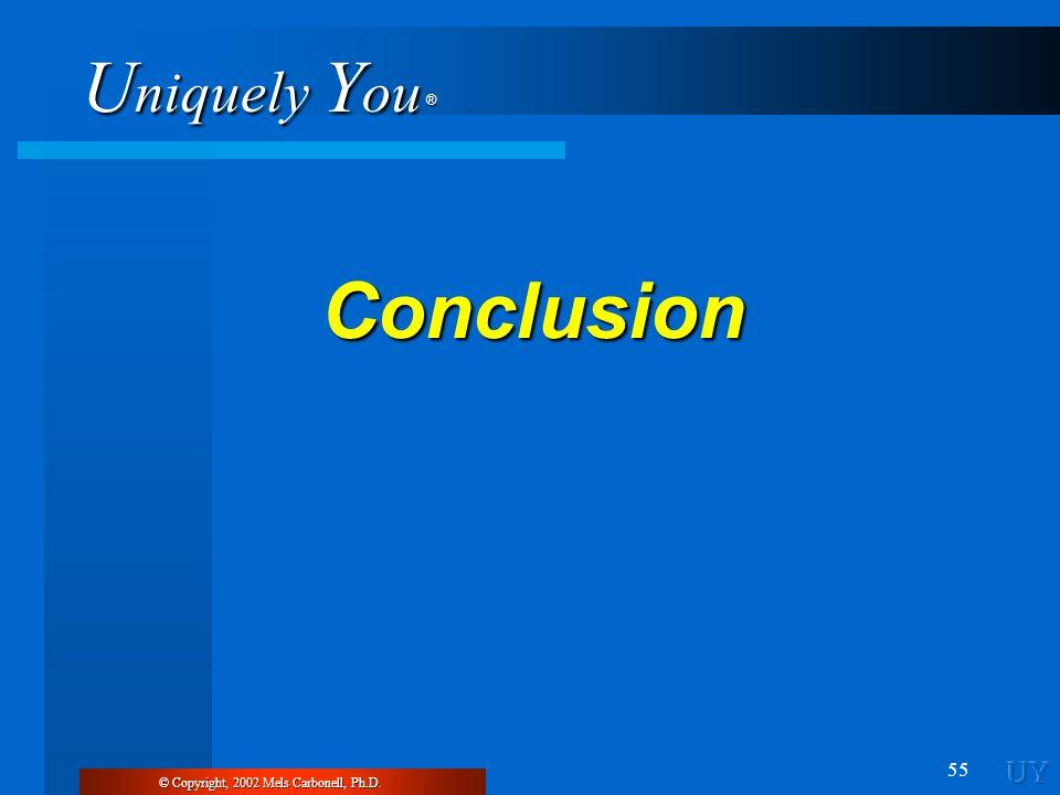 U niquely Y ou ® 55 Conclusion © Copyright, 2002 Mels Carbonell, Ph.D.
