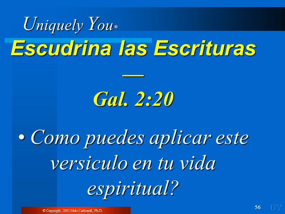 U niquely Y ou ® 56 Escudrina las Escrituras Escudrina las Escrituras Gal. 2:20 Como puedes aplicar este versiculo en tu vida espiritual? Como puedes