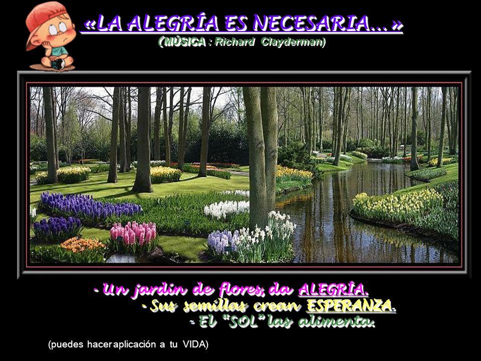 «LA ALEGRÍA ES NECESARIA…» ( MÚSICA «LA ALEGRÍA ES NECESARIA…» ( MÚSICA : Richard Clayderman) - Un jardín de flores, da ALEGRÍA.