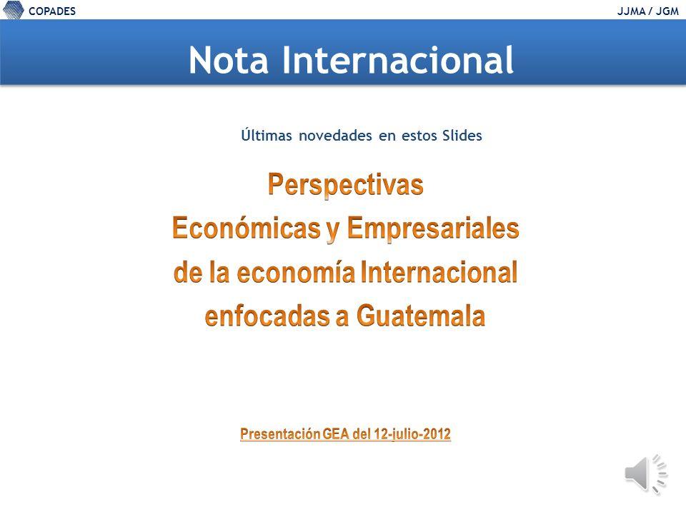 COPADESJJMA / JGM Precios del mercado internacional (% anual) Fuente: The Economist Price Index.