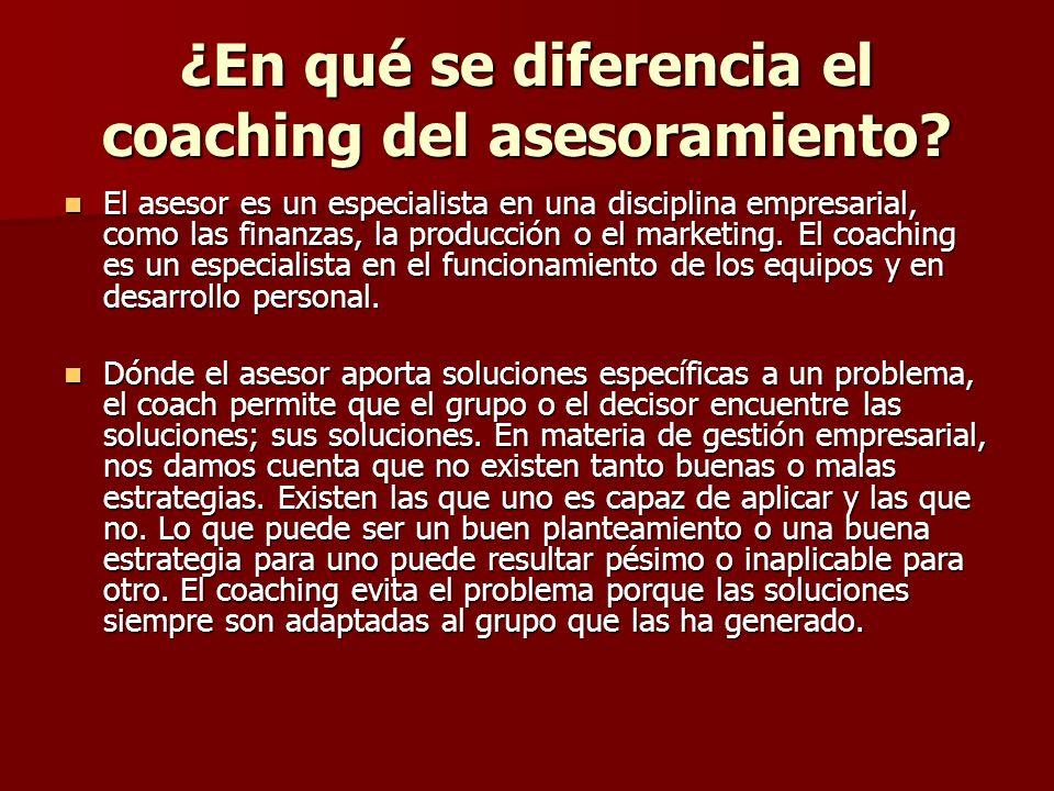 ¿En qué se diferencia el coaching del asesoramiento? El asesor es un especialista en una disciplina empresarial, como las finanzas, la producción o el