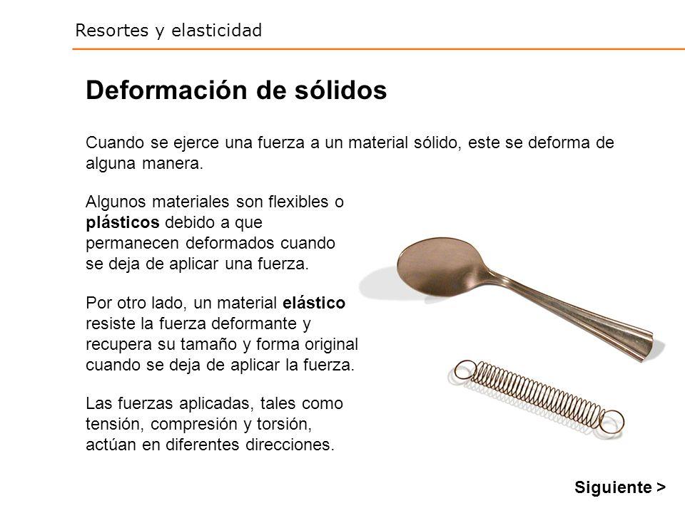 Resortes y elasticidad Deformación de sólidos Las fuerzas aplicadas, tales como tensión, compresión y torsión, actúan en diferentes direcciones.