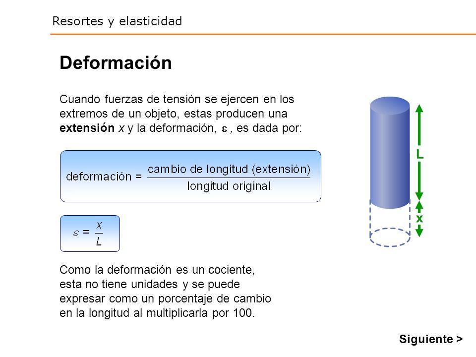 Resortes y elasticidad Deformación Cuando fuerzas de tensión se ejercen en los extremos de un objeto, estas producen una extensión x y la deformación,, es dada por: Como la deformación es un cociente, esta no tiene unidades y se puede expresar como un porcentaje de cambio en la longitud al multiplicarla por 100.