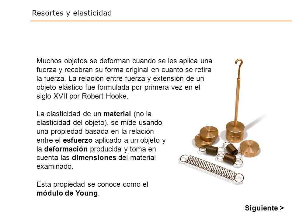 Resortes y elasticidad La elasticidad de un material (no la elasticidad del objeto), se mide usando una propiedad basada en la relación entre el esfuerzo aplicado a un objeto y la deformación producida y toma en cuenta las dimensiones del material examinado.
