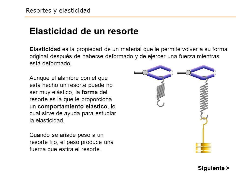 Resortes y elasticidad Elasticidad de un resorte Aunque el alambre con el que está hecho un resorte puede no ser muy elástico, la forma del resorte es la que le proporciona un comportamiento elástico, lo cual sirve de ayuda para estudiar la elasticidad.