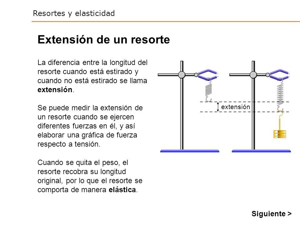 Resortes y elasticidad Extensión de un resorte Se puede medir la extensión de un resorte cuando se ejercen diferentes fuerzas en él, y así elaborar una gráfica de fuerza respecto a tensión.