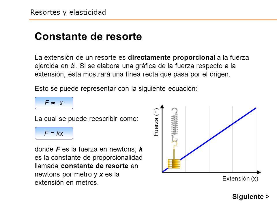 Resortes y elasticidad F = kx F x Constante de resorte Esto se puede representar con la siguiente ecuación: La cual se puede reescribir como: La extensión de un resorte es directamente proporcional a la fuerza ejercida en él.