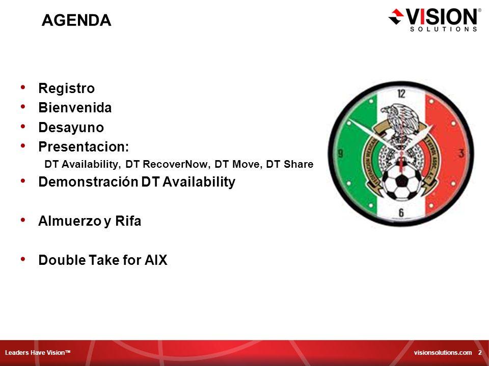 Leaders Have Vision visionsolutions.com 2 AGENDA Registro Bienvenida Desayuno Presentacion: DT Availability, DT RecoverNow, DT Move, DT Share Demonstr