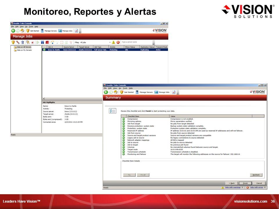 Leaders Have Vision visionsolutions.com 36 Monitoreo, Reportes y Alertas