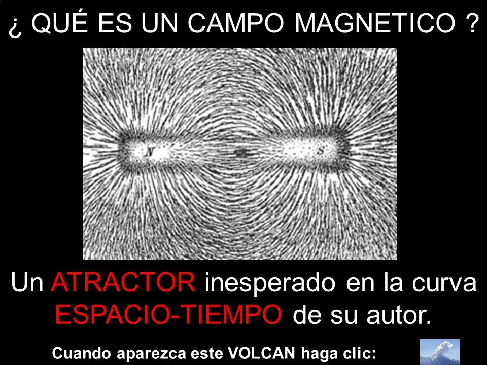 ¿ QUÉ ES UN CAMPO MAGNETICO ? Cuando aparezca este VOLCAN haga clic: Un ATRACTOR inesperado en la curva ESPACIO-TIEMPO de su autor.