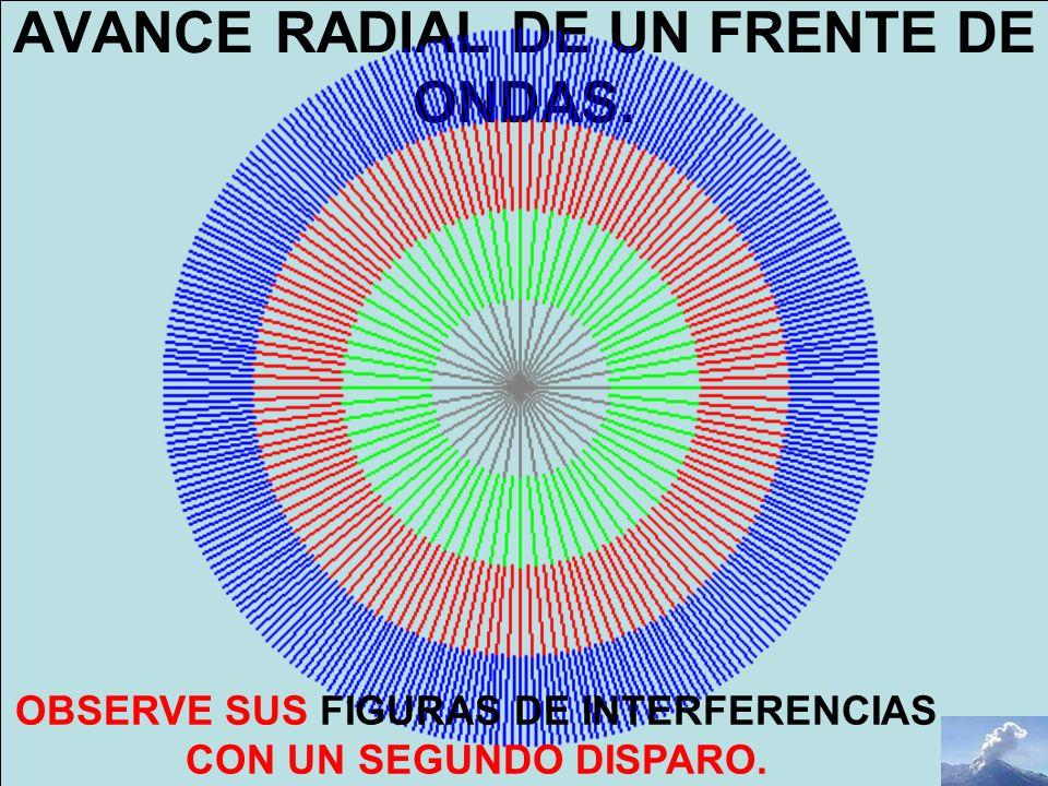 AVANCE RADIAL DE UN FRENTE DE ONDAS. OBSERVE SUS FIGURAS DE INTERFERENCIAS CON UN SEGUNDO DISPARO.