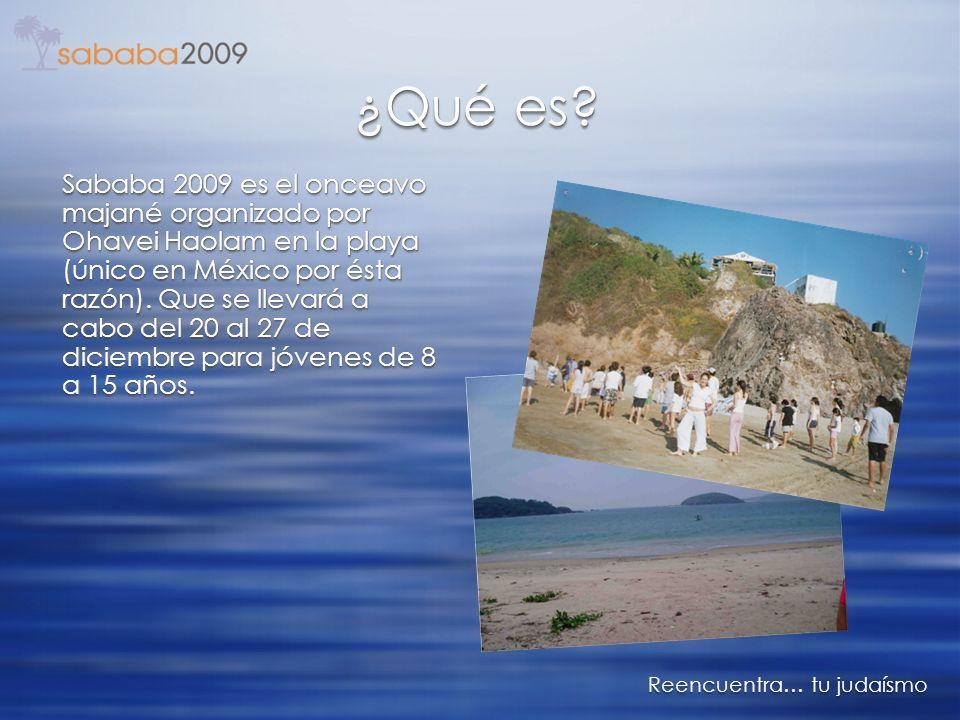 v v ¿Qué es? Reencuentra… tu judaísmo Sababa 2009 es el onceavo majané organizado por Ohavei Haolam en la playa (único en México por ésta razón). Que