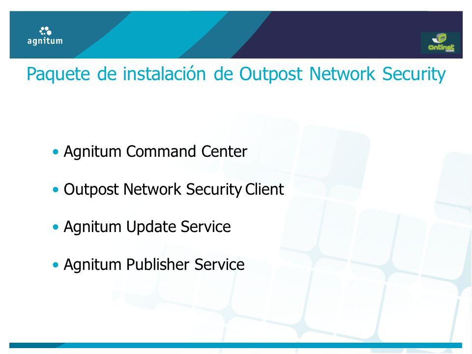 Paquete de instalación de Outpost Network Security Agnitum Command Center Outpost Network Security Client Agnitum Update Service Agnitum Publisher Ser
