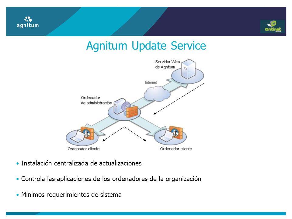 Agnitum Update Service Instalación centralizada de actualizaciones Controla las aplicaciones de los ordenadores de la organización Mínimos requerimien