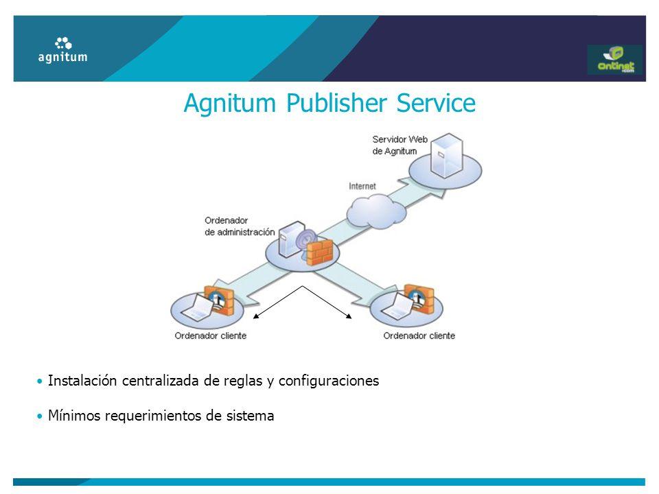 Agnitum Publisher Service Instalación centralizada de reglas y configuraciones Mínimos requerimientos de sistema