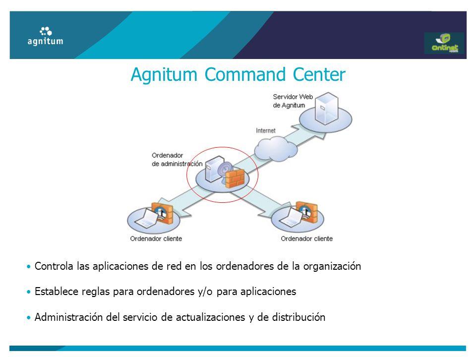 Agnitum Command Center Controla las aplicaciones de red en los ordenadores de la organización Establece reglas para ordenadores y/o para aplicaciones