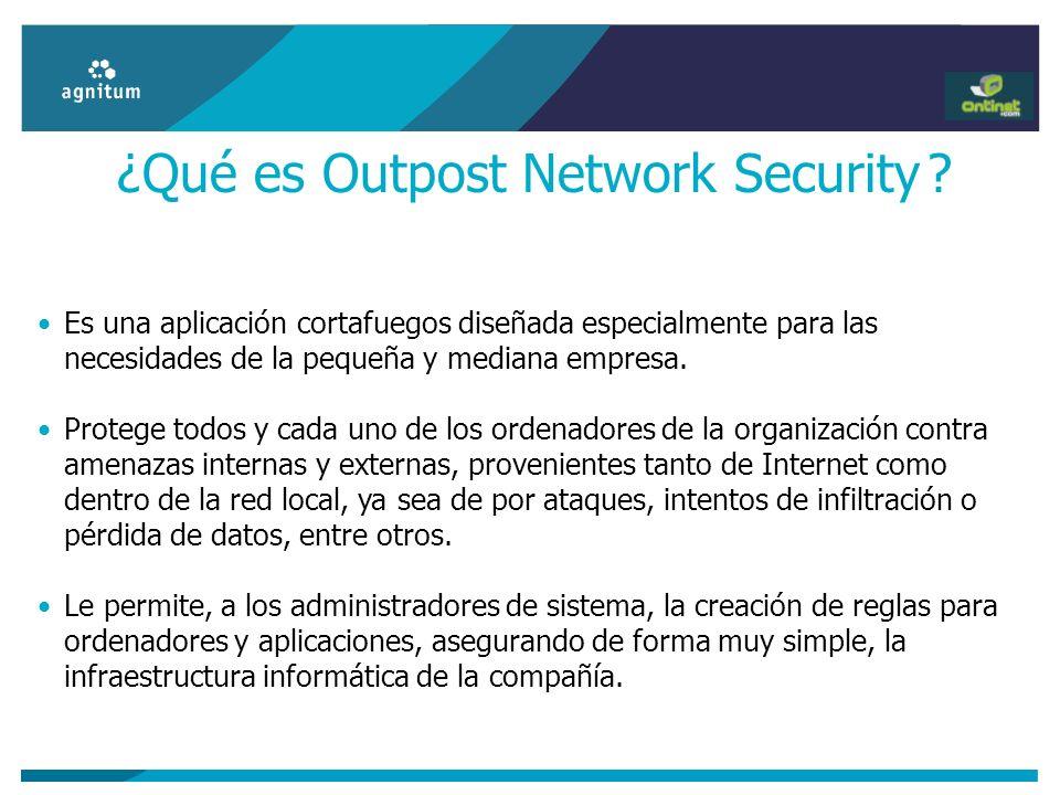 ¿Qué es Outpost Network Security ? Es una aplicación cortafuegos diseñada especialmente para las necesidades de la pequeña y mediana empresa. Protege
